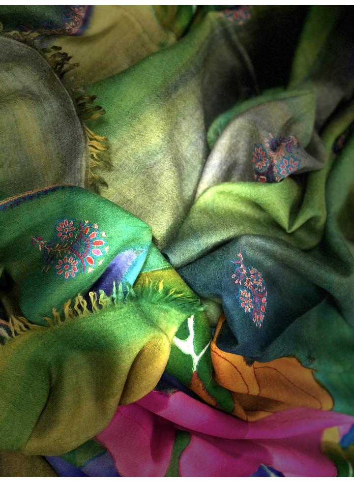 Two-Toned Roses Kalamkari Cashmere Pashmina Stole