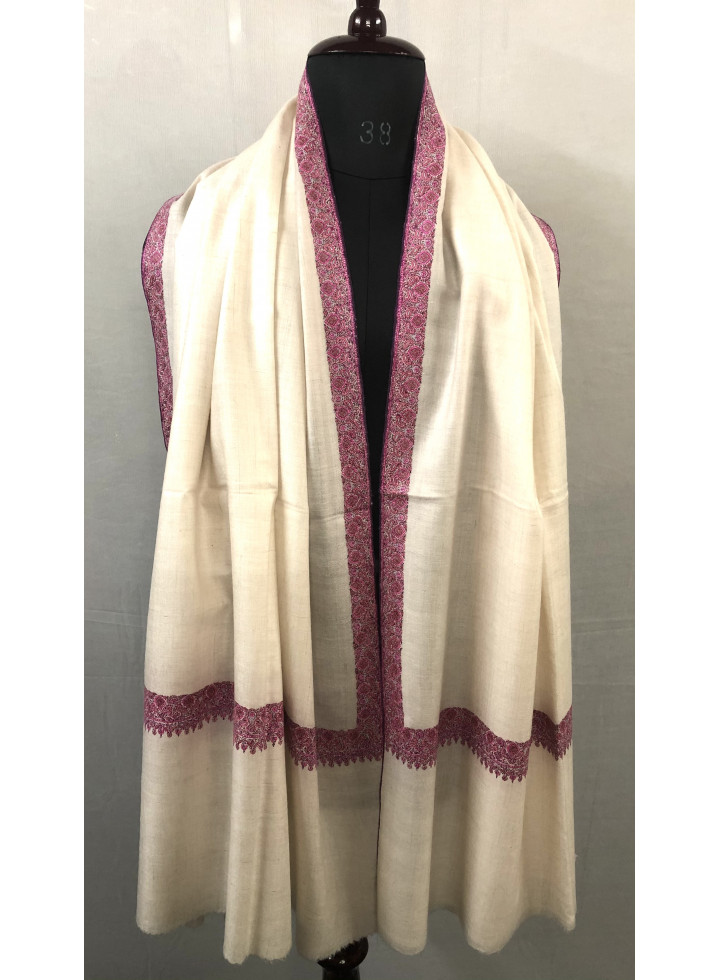 White Sheer Pink Silk Embroidery Neemdore Handwoven Cashmere Pashmina Shawl