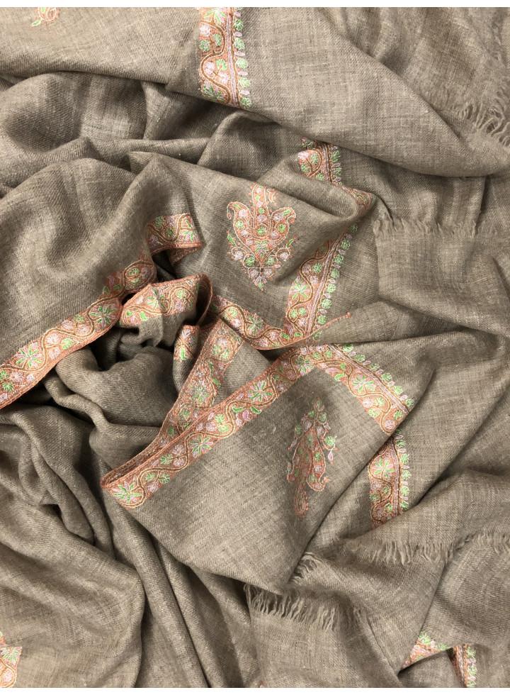 Natural Zati Sozni Embroidery Hashidar Cashmere Pashmina Shawl