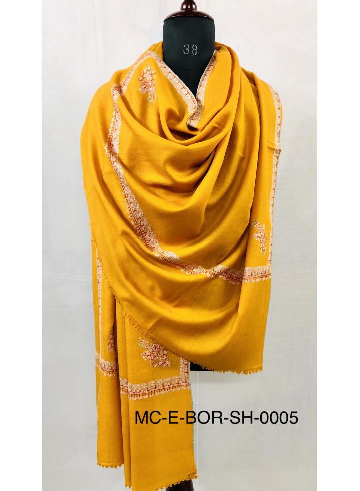 Golden Glow Sozni Embroidery Hashidar Real Cashmere Pashmina Shawl