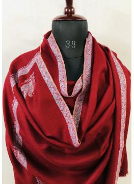 Rio Red Hashidar Sozni Embroidery Cashmere Pashmina Shawl