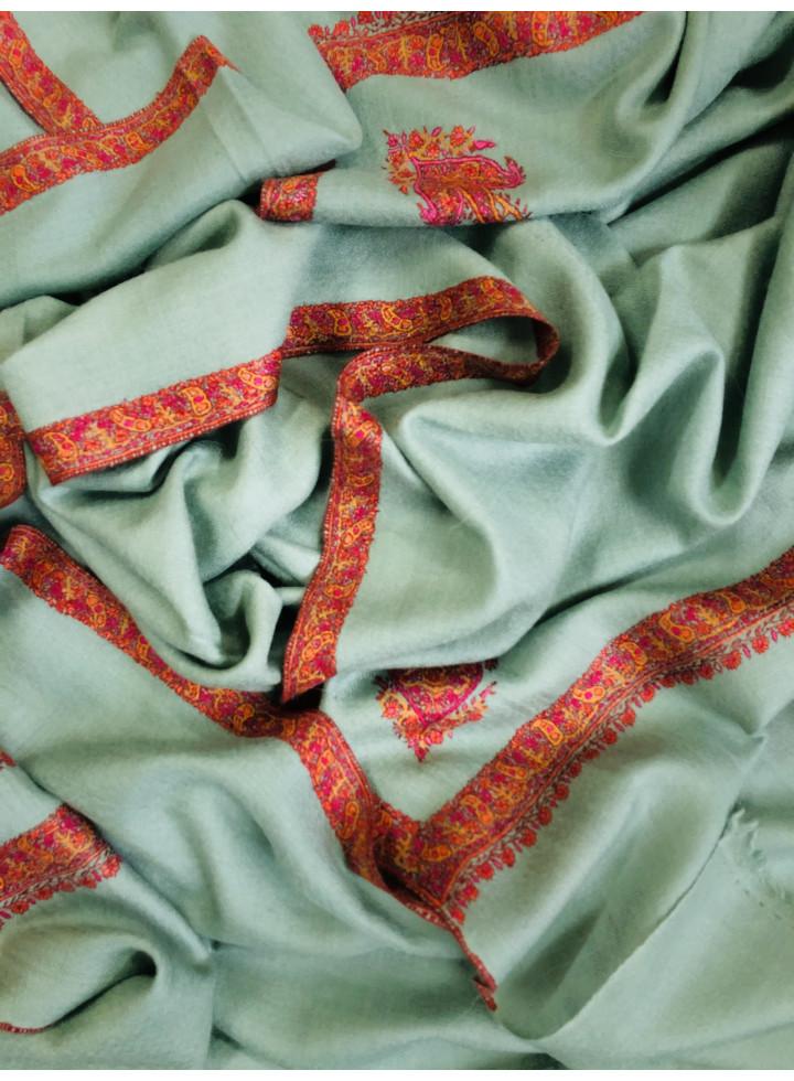 Green Milieu Hashidar Sozni Embroidery Cashmere Pashmina Shawl