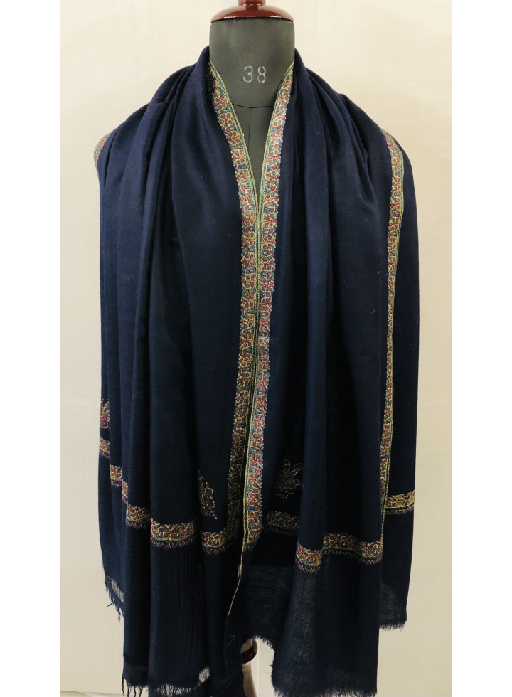 Dark Sapphire Blue Sozni Embroidered Hashidar Cashmere Pashmina Shawl