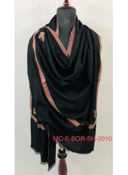 Black Sozni Bordered Embroidery Handmade Real Cashmere Pashmina Shawl