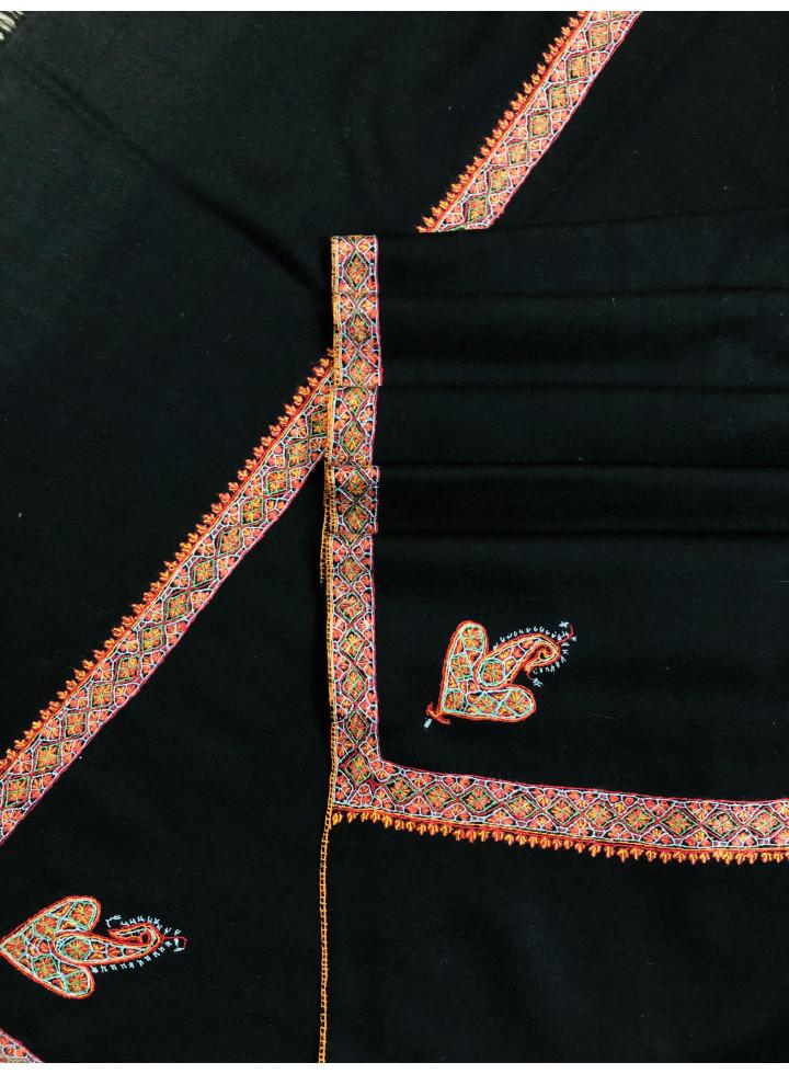 Black Sozni Bordered Embroidery Handmade Real Cashmere Pashmina Shawl