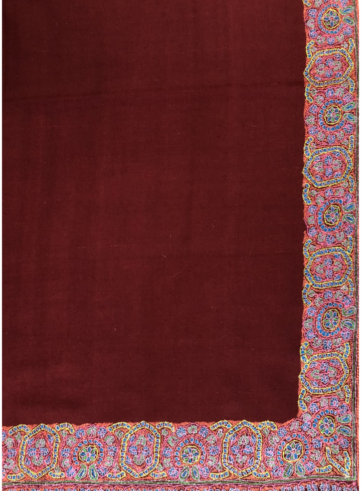 Tibetan Red Gorgeous Sozni Border Embroidery Handcrafted Pure Cashmere Pashmina Shawl