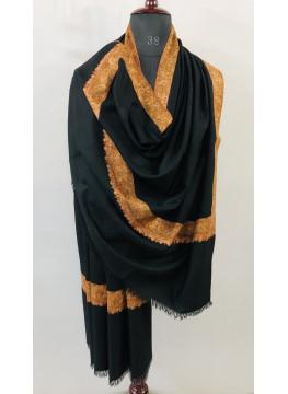 Exclusive Sozni Border Embroidery Black Handmade Pure Cashmere Pashmina Shawl