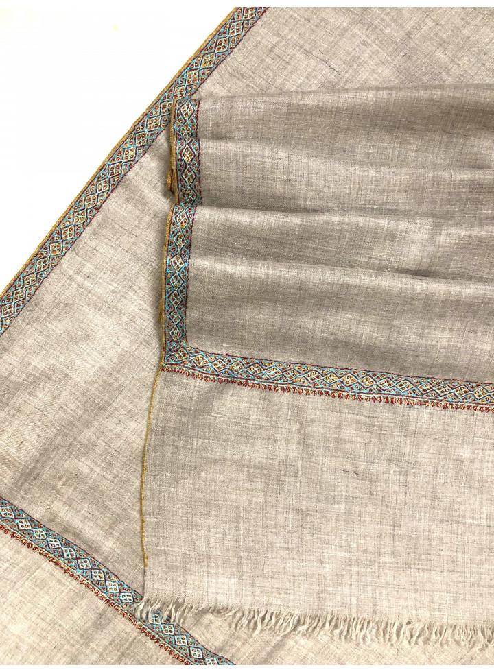 Luxury Aksi Reversible Sozni Embroidery Border Natural Zati Handmade Pure Cashmere Pashmina Shawl