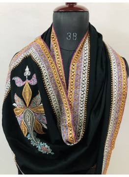 Queen's Coronation Exclusive Hand Embroidered Golden And Silver Tilla Work With Handcrafted Sozni Embroidery Handmade Real Cashmere Pashmina Shawl