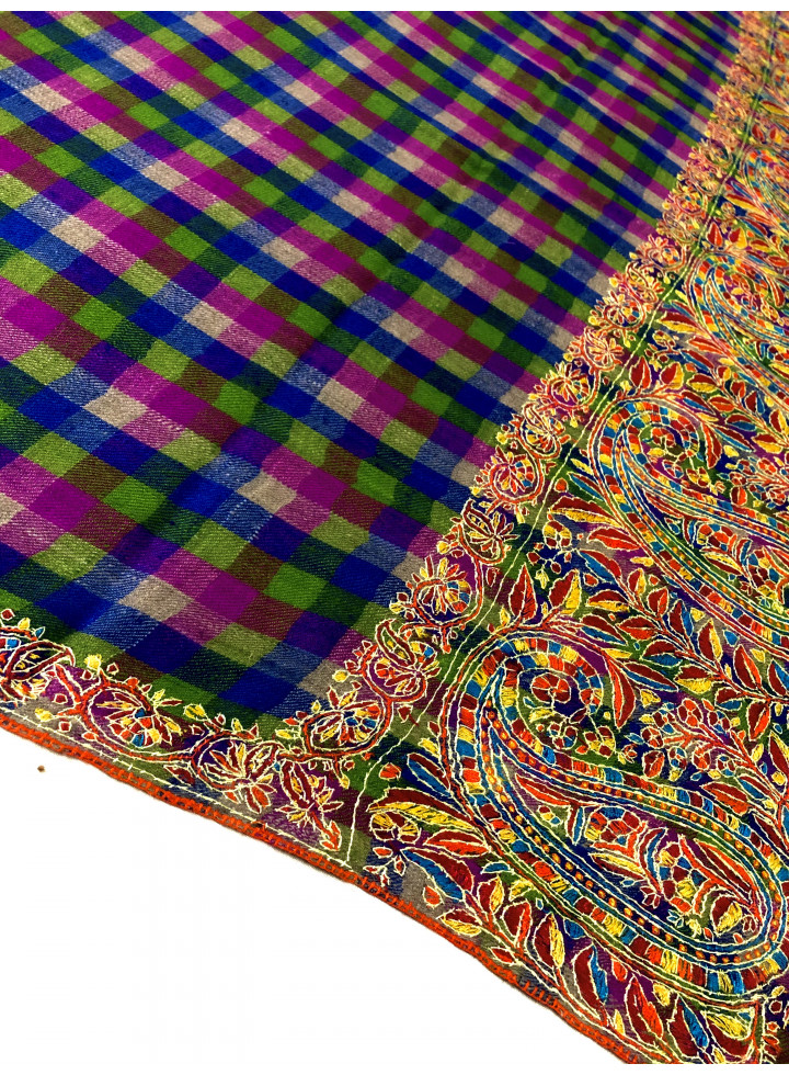 Multi Color Check Paper Machie Palla Cashmere Pashmina Shawl