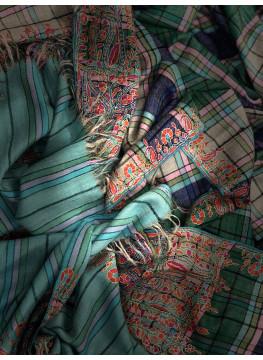 Plaid Paper Machie Palla Embroidery Cashmere Pashmina Shawl