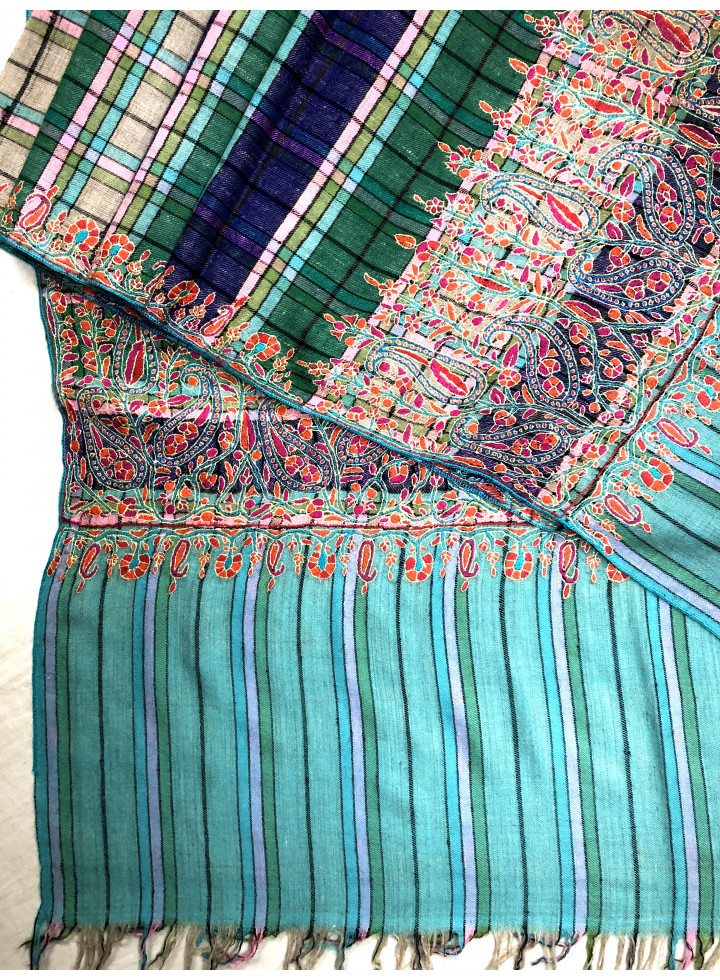 Plaid Paper Machie Palla Embroidery Cashmere Pashmina Shawl