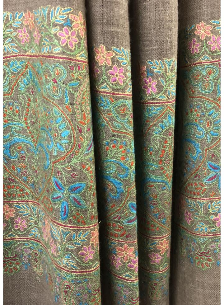 Mughal Floral Palla Do-Rukha Kani-Embroidery Cashmere Pashmina Shawl