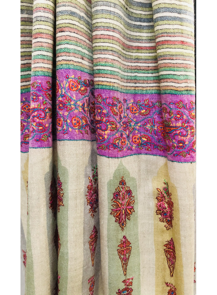 Mughal Booties Palla Shadow Stripes Sozni Embroidered Cashmere Pashmina Shawl