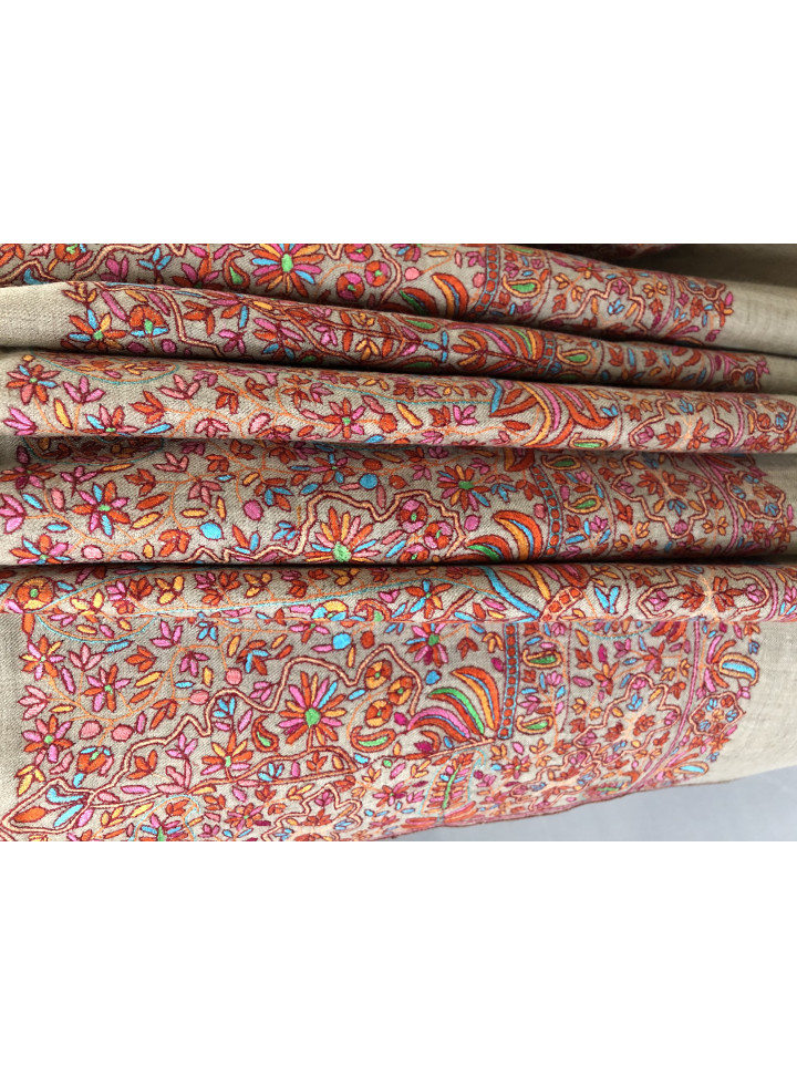 Exclusive Luxury Mughal Floral Palla Kani Embroidery Handmade Cashmere Pashmina Shawl