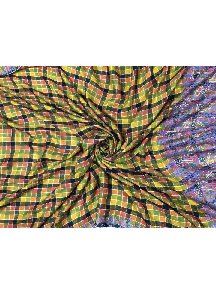 Multicolored Outlined Gingham Badam Palla Sozni Embroidered Cashmere Pashmina Shawl