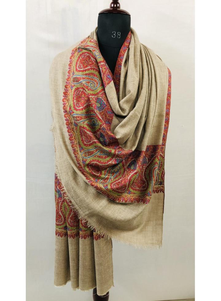Kashmir Mehrab Paisley Palla Sozni Hand Embroidery Cashmere Pashmina Shawl