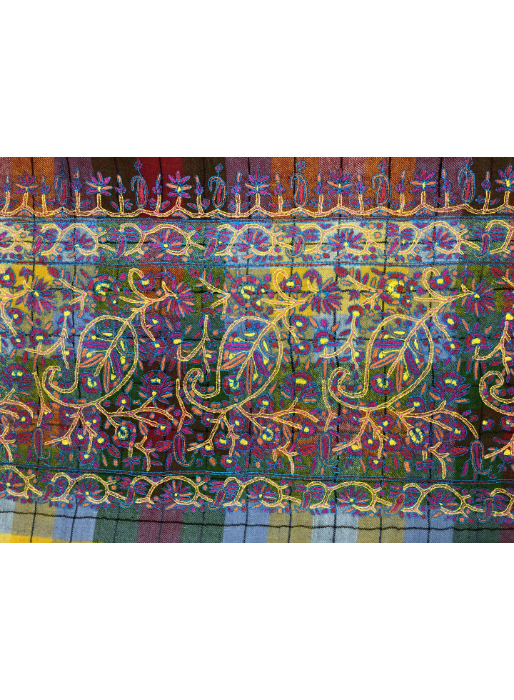 Cross-Hatched Badam Palla Sozni Hand Embroidered Cashmere Pashmina Shawl
