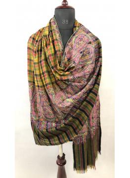 Paisley Palla Sozni Hand Embroidery Checkered Cashmere Pashmina Shawl