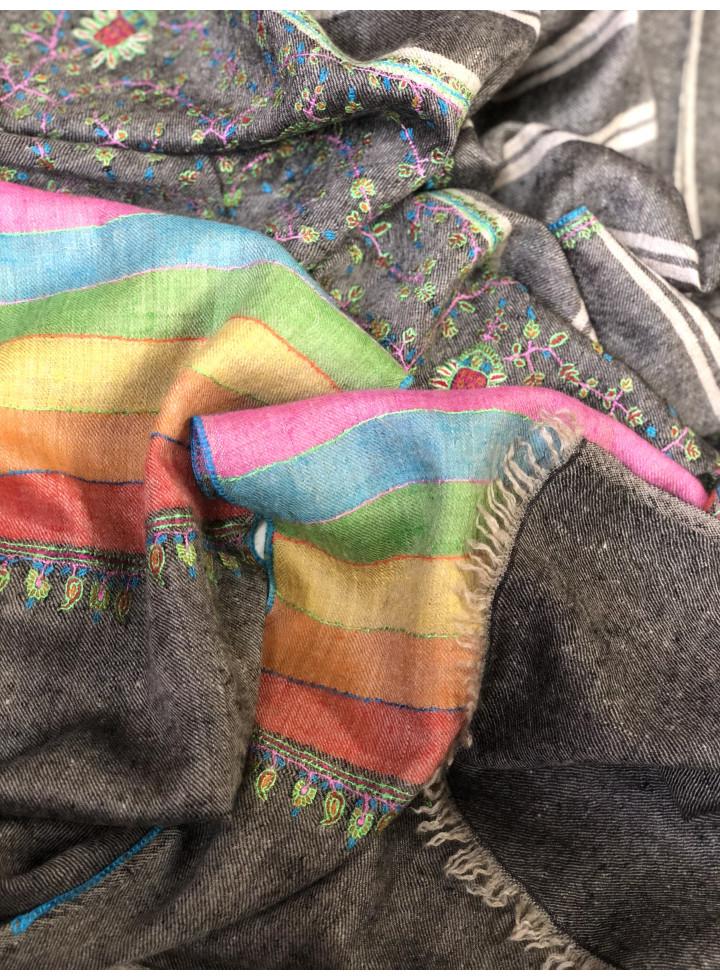 Pashmina Pavement Rainbow Jali Palla Stole