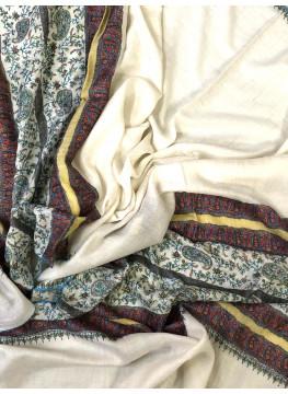 Gardenia Badaam Embroidery Palla Cashmere Pashmina Stole