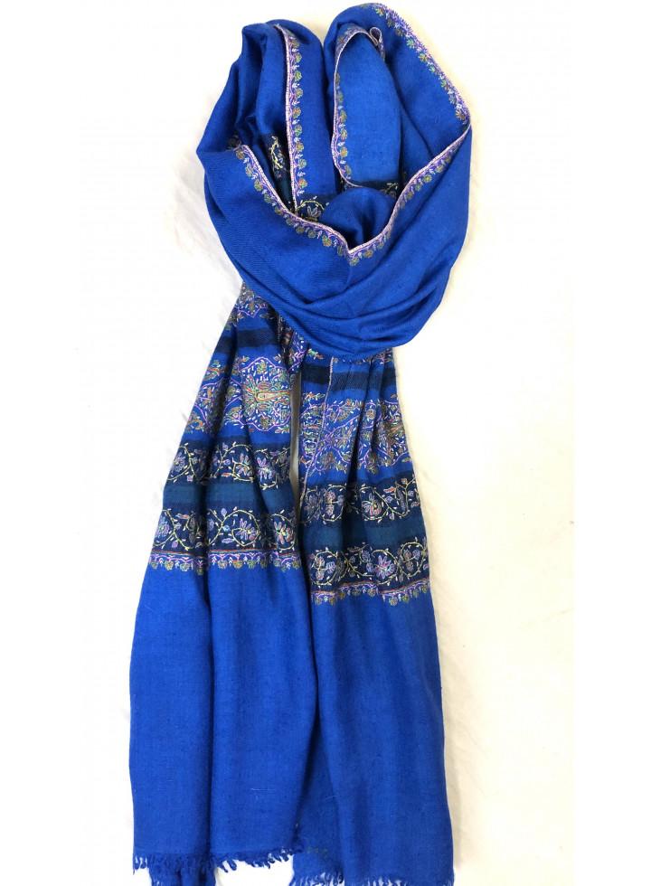 Nautical Blue Sozni Palla Embroidered Cashmere Pashmina Stole