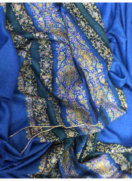 Nautical Blue Sozni Palla Embroidered Cashmere Pashmina Stole