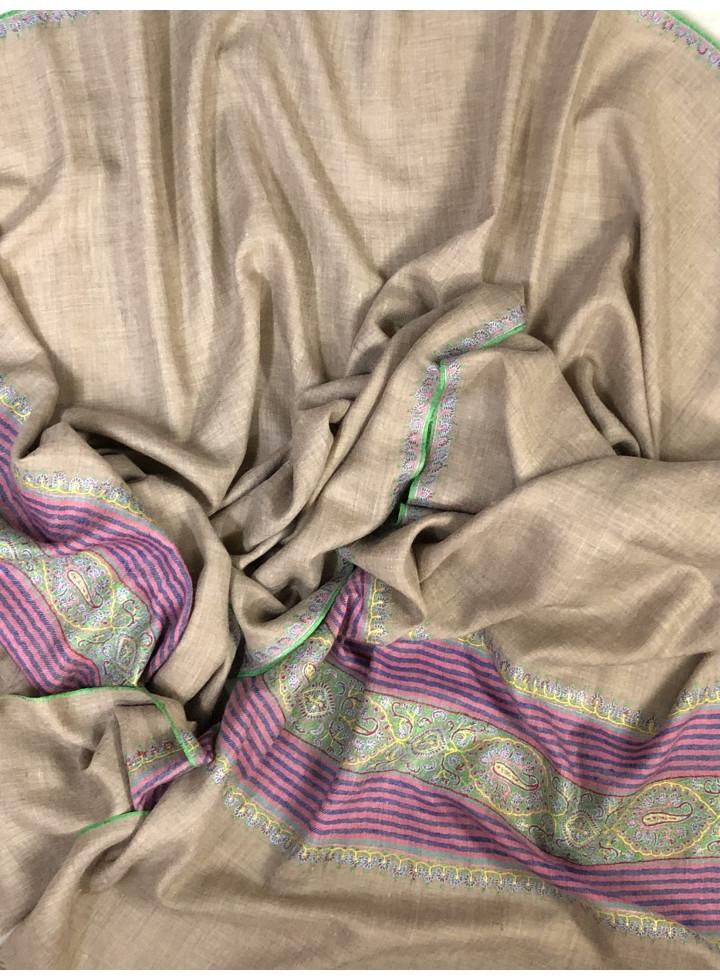 Natural Neem Palla Sozni Embroidery Cashmere Pashmina Stole