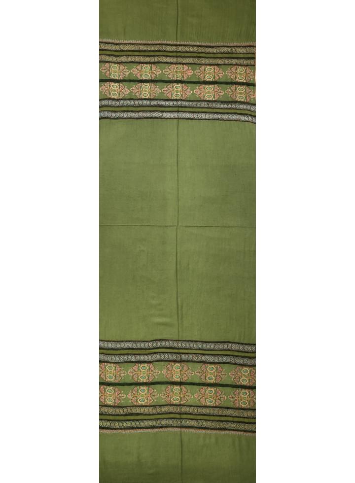 Green Olive Sozni Butta Palla Embroidered Cashmere Pashmina Stole