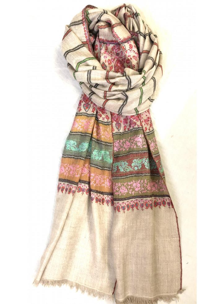 Ivory Sozni Big Palla Embroidered Cashmere Pashmina Stole