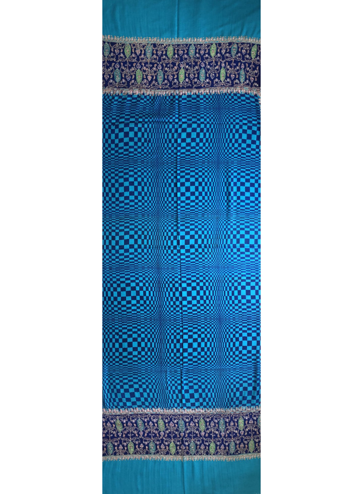 True Blue Check Designed Embroidered Palla Cashmere Pashmina Stole