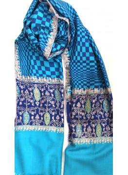 True Blue Check Designed Embroidered Palla Cashmere Pashmina Stole