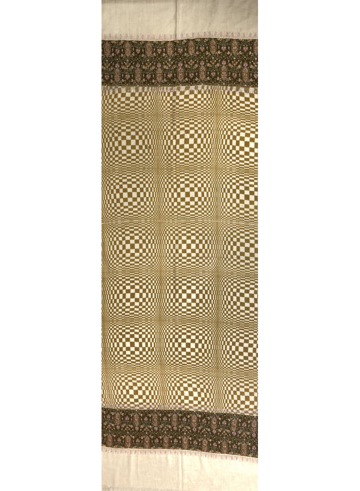 Double Cream Check Design Sozni Palla Embroidered Cashmere Pashmina Stole