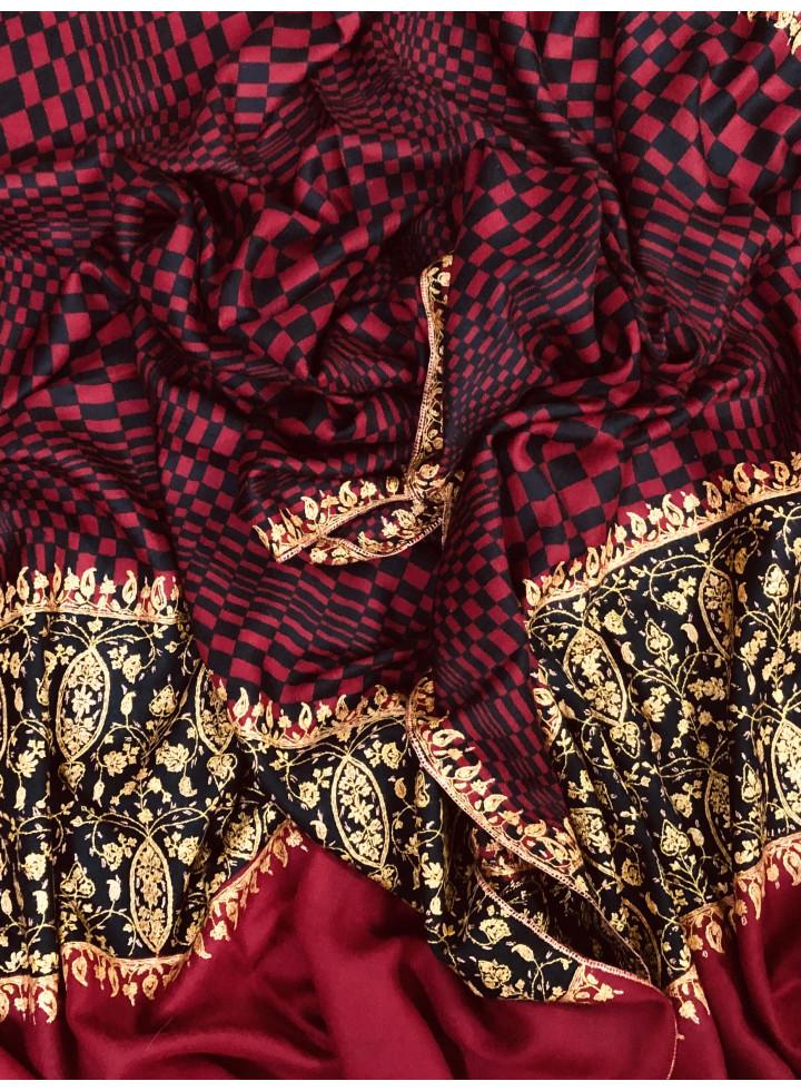 Crimson Check Designed Sozni Palla Embroidered Cashmere Pashmina Stole