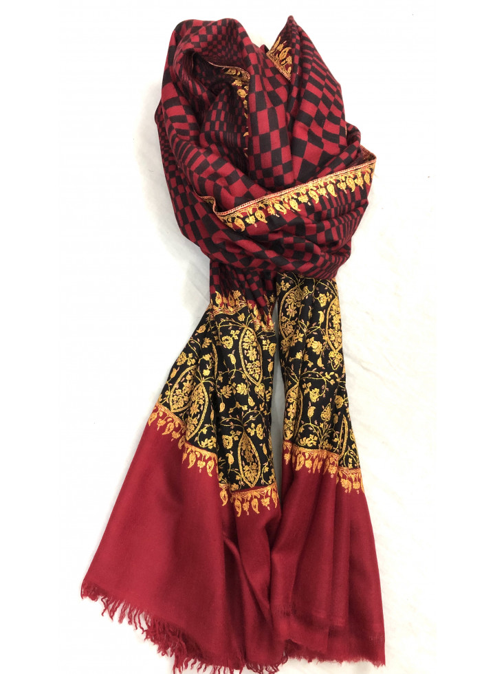 Crimson Check Designed Sozni Palla Embroidered Cashmere Pashmina Stole