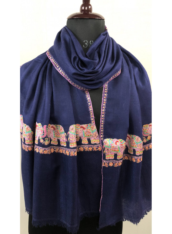Happy Elephant Vintage Hand Embroidered Real Cashmere Pashmina Stole