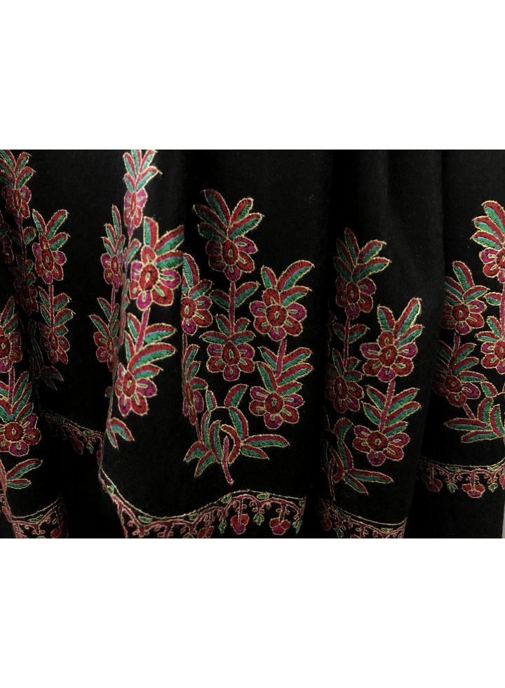 Seamless Indian Mughal Flower Palla Handmade Cashmere Pashmina Stole