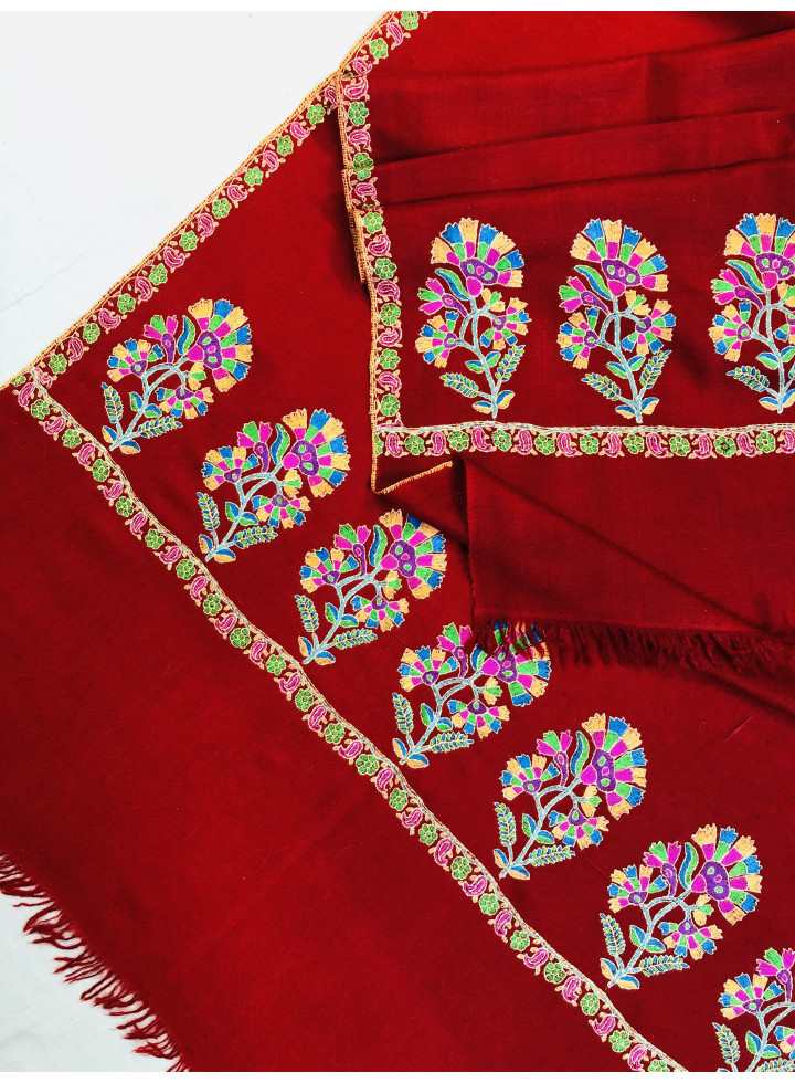 Red Seamless Vintage Floral Kani Embroidery Palla Handmade Real Cashmere Pashmina Stole