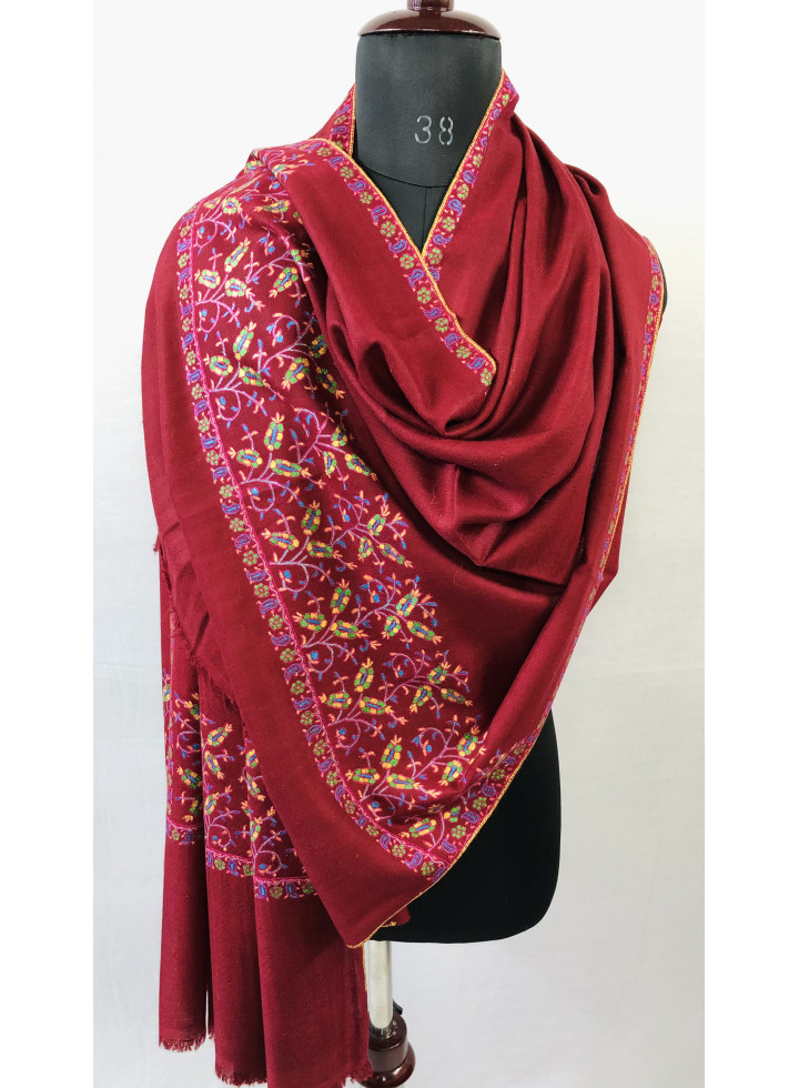 Traditional Mughal Motif Red Handcrafted Palla Real Cashmere Pashmina Stole