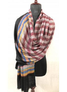 Reversible Multicolored Breton Stripes Hand Embroidered Real Cashmere Pashmina Stole