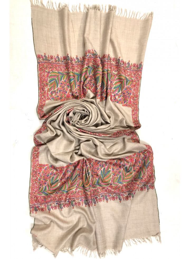 Exclusive Kanikar Paisley Flower Palla Handmade Real Cashmere Pashmina Embroidered Stole
