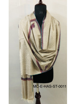 Undyed Natural Zati Sozni Embroidery Bordered Cashmere Pashmina Stole
