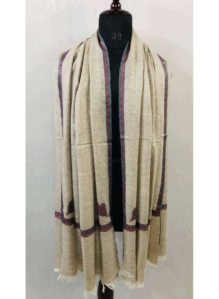 Undyed Natural Zati Sozni Embroidery Bordered Cashmere Pashmina Stole