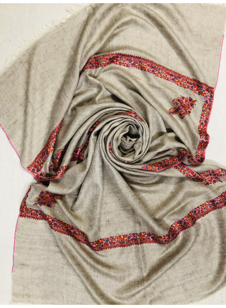 Natural Color Sozni Embroidery Border Cashmere Pashmina Stole