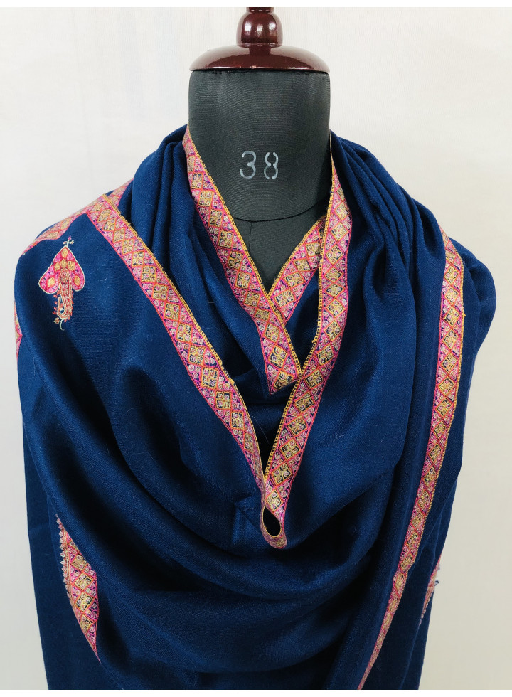 Princess Blue Sozni Embroidery Border Cashmere Pashmina Stole