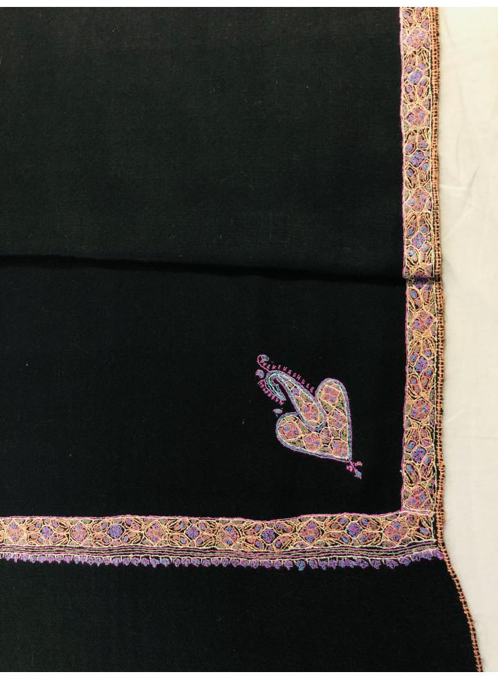 Stretch Limo Sozni Embroidery Border Cashmere Pashmina Black Stole
