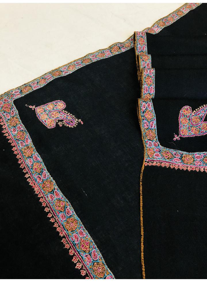 Black Caviar Sozni Embroidery Border Real Cashmere Pashmina Stole