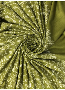 Green Moss Fleece Flower Jaal Sozni Embroidered Cashmere Pashmina Shawl