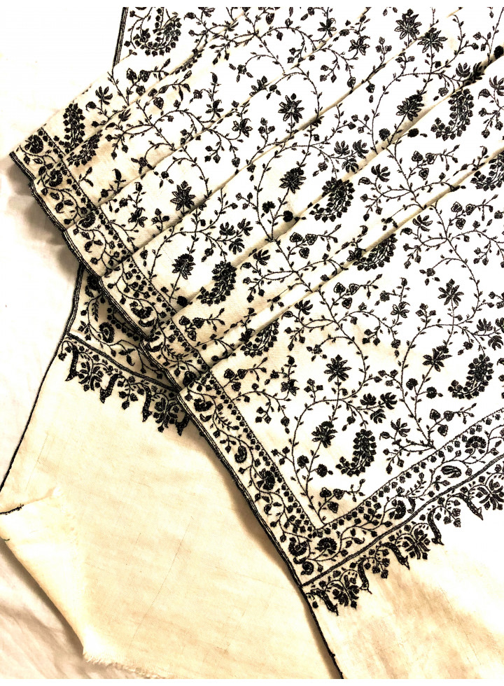 Blanc De Blanc Handcrafted Jaal Sozni Embroidery Real Cashmere Pashmina Shawl