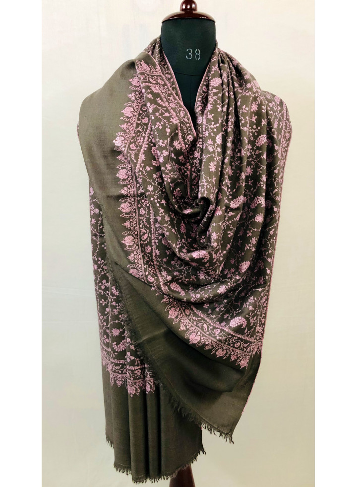 Charcoal Gray Sozni Jaal Hand Embroidered Real Cashmere Pashmina Shawl